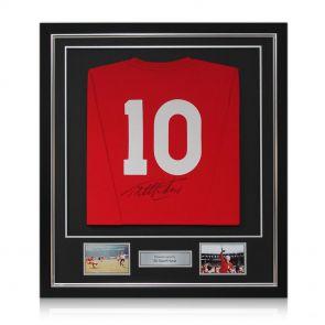 Framed Sir Geoff Hurst Signed England Football Jersey