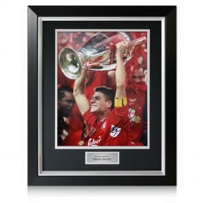 Gerrard Lifting Champions League photo, deluxe framed