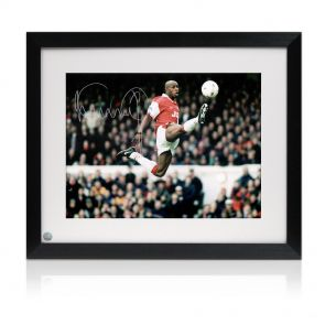 Ian Wright Jumping Photo, Signed And Framed