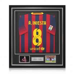 Autographed, framed Iniesta jersey