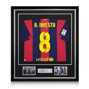 Signed And Framed Andres Iniesta Barcelona Jersey