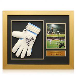 Signed framed Jerzey Dudek Istanbul glove presentation