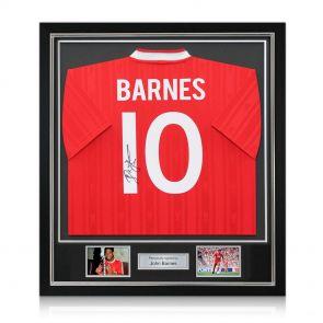 Framed John Barnes shirt signed on the back
