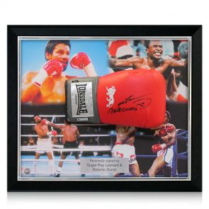 Framed, Signed Sugar Ray Leonard and Roberto Duran Glove