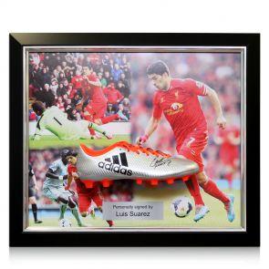 Framed Luis Suarez autographed soccer shoe