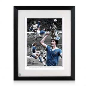 Manchester City Framed Photograph Signed by Mike Doyle, Dennis Tueart and Peter Barnes