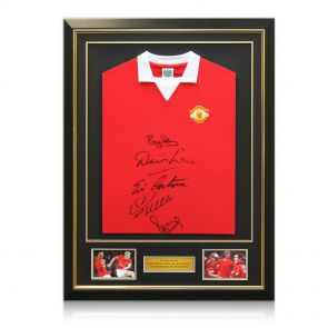 Framed multi-signed Manchester United shirt
