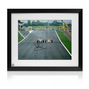 Signed and framed Mansell Senna photo