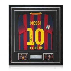 Autographed, framed Leo Messi jersey
