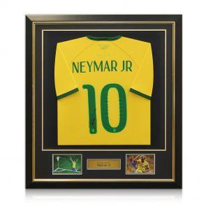 Neymar signed, framed Brazil shirt