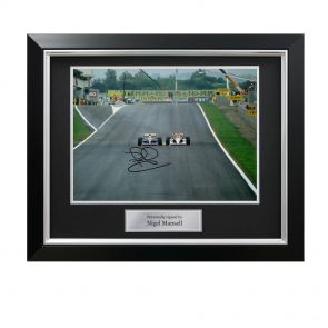 Signed framed Mansell Senna photo