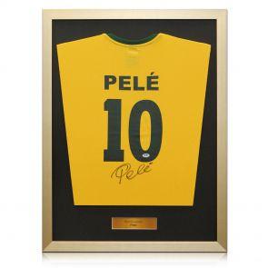 Framed signed Pele Brazil jersey