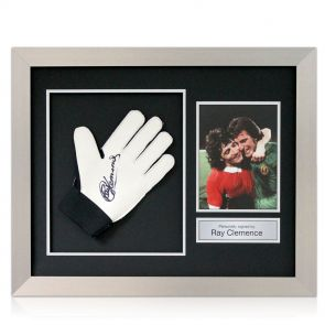 Signed and framed Ray Clemence Goalie Glove