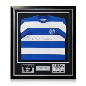 Framed QPR jersey autographed by Stan Bowles