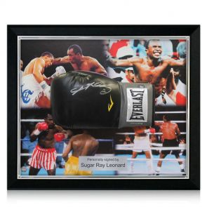Signed and framed Sugar Ray Leonard boxing glove