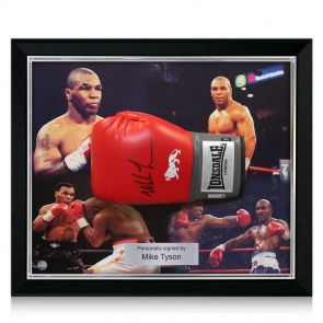 Signed and framed Tyson glove