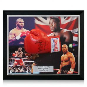 Signed and framed Tyson Bruno boxing glove