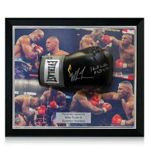 Signed and framed Tyson Holyfield glove