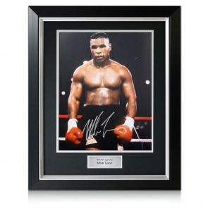 Signed and framed Mike Tyson boxing photo