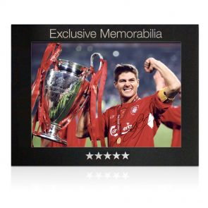 Steven Gerrard Signed Liverpool Photograph: Champions League 2005 In Gift Box
