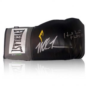 Mike Tyson And Evander Holyfield Signed Black Boxing Glove In Gift Box