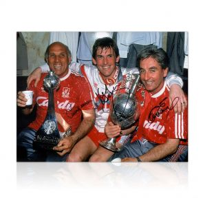 The Boot Room Photo Signed By Kenny Dalglish, Roy Evans And Ronnie Moran. In Gift Box