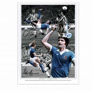 Manchester City Photograph Signed by Mike Doyle, Dennis Tueart and Peter Barnes