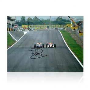 Nigel Mansell Signed Photograph: Wheel To Wheel. In Gift Box