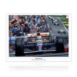 Nigel Mansell Signed Photograph: 1992 World Champion. In Gift Box
