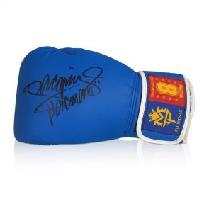 Manny Pacquiao Signed Blue Boxing Glove In Display Case