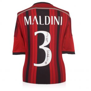 Paolo Maldini Signed 2014-15 AC Milan Football Shirt In Gift Box