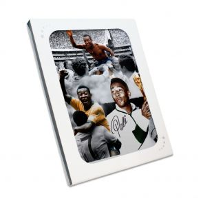 Pele Signed Football Photo: Career Montage. In Gift Box