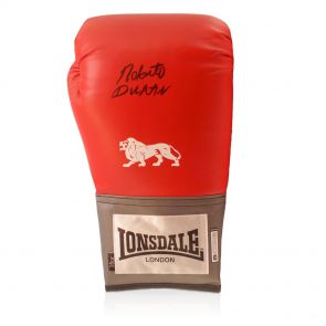 Roberto Duran Signed Red Lonsdale Boxing Glove. In Gift Box