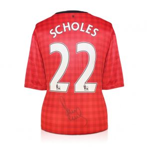 Paul Scholes Signed Manchester United Football Shirt. 2012-13
