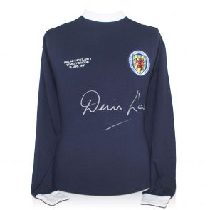 Denis Law Signed Scotland Football Shirt  With Wembley 1967 Embroidery In Gift Box