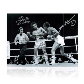 Sugar Ray Leonard And Roberto Duran Signed Boxing Photo: Brawl In Montreal. In Gift Box