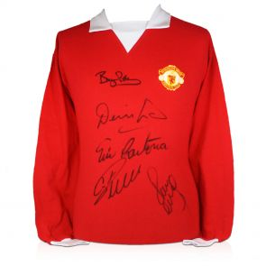 Manchester United Shirt Signed By Cristiano Ronaldo, Eric Cantona, Denis Law, Bryan Robson And Paul Scholes. In Gift Box