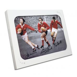 Wales Rugby Photo Signed By Edwards, Williams And Bennett. In Gift Box