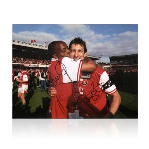 Ian Wright And Tony Adams Signed Arsenal Photo: 1998 League Winners. In Gift Box
