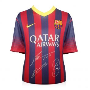 Messi, Xavi, Iniesta signed Barcelona shirt