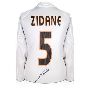 Zinedine Zidane Signed Real Madrid 2004-05 Football Shirt With Long Sleeves And Champions League Starball. In Deluxe Black Frame With Gold Inlay