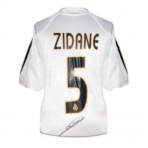 Zinedine Zidane Signed Real Madrid 2004-05 Football Shirt (With Madrid Logo) In Deluxe Black Frame With Gold Inlay
