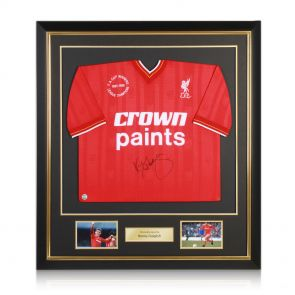 Signed and framed Kenny Dalglish Liverpool jersey