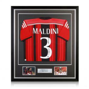 Signed framed Maldini jersey
