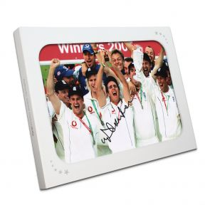 Michael Vaughan Signed Ashes Photo In Gift Box