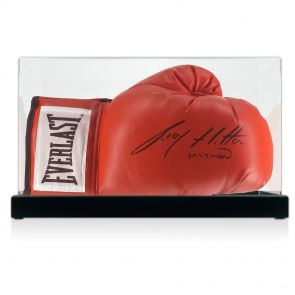 Signed Ricky Hatton boxing glove in display case