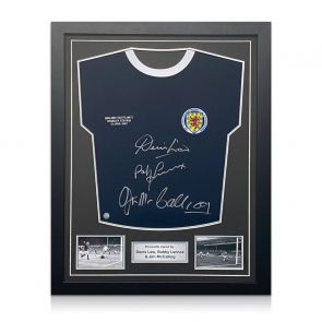 Scotland Football Shirt Signed by Denis Law, Bobby Lennox And Jim McCalliog. Standard Frame