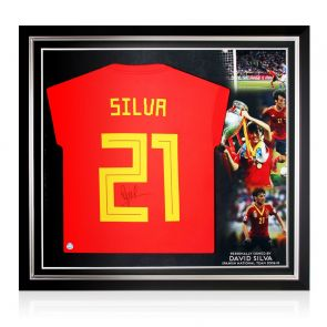 David Silva Signed Spain 2018-19 Football Shirt. Premium Frame
