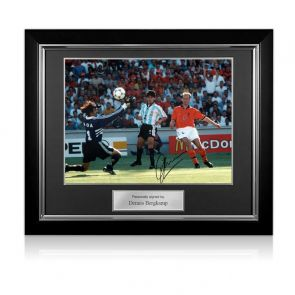 Dennis Bergkamp Signed Holland Photo: The Argentina Goal. Deluxe Frame
