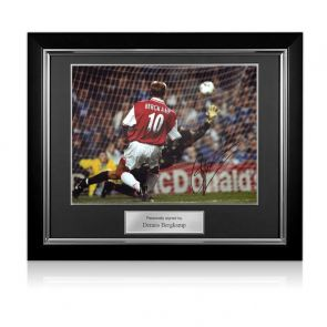 Dennis Bergkamp Signed Arsenal Photo: The Leicester Hat Trick. Deluxe Frame